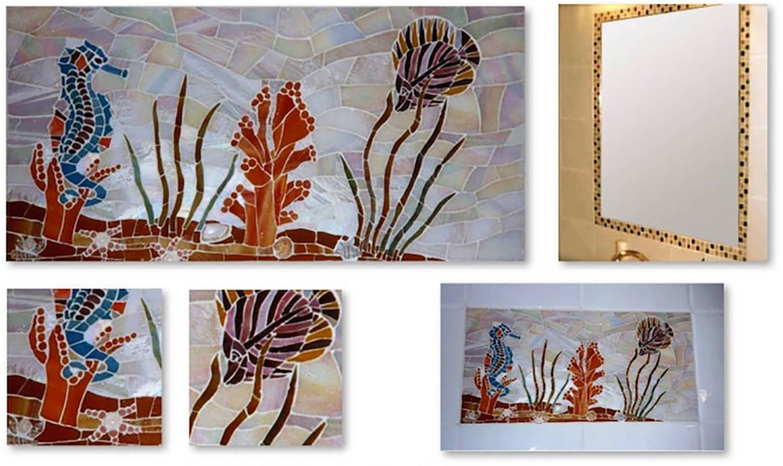 """""""Aquarium"""" - carreau inséré dans la faïence et miroir assorti 20x40 : Verre et coquillages"""