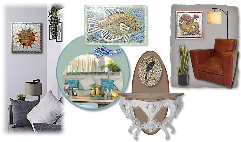 Tableaux : exemples de réalisations. D'après un dessin imaginé ou fourni, la mosaïque apporte beaucoup d'originalité.