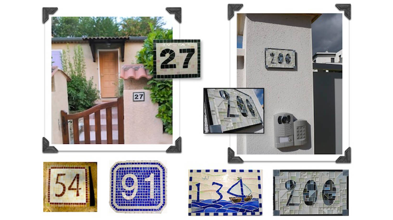Voici quelques exemples de numéros de rue réalisés sur commande. Conçus pour résister en extérieur, la mosaïque est collée et jointoyée sur un support prêt à fixer par vos soins.